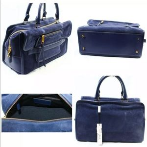 NEW Marc Jacobs Blue Madison Suede Zip Top Tote